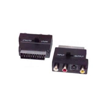 Преходник SCART(м) към 3x RCA Chinch(ж)/S-Video(ж), черен, с превключвател за вход/изход image