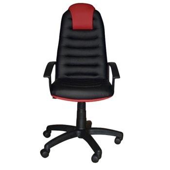 Директорски стол Tunis (TUNISPCOMBI D-5/B-6), до 120кг. макс. тегло, екокожа, пластмасова база, Tilt механизъм, пластмасови подлакътници, черно-червен image