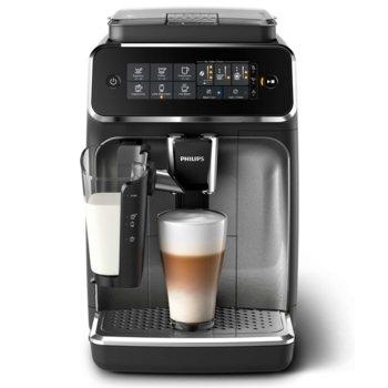 Кафемашина Philips LatteGo EP3246/70, 15 bar, 1,8 л. воден резервоар, 275 гр. вместимост за кафе, AquaClean, черна/сребриста  image