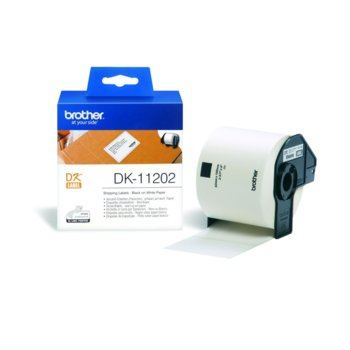 ЛЕНТА ЗА ЕТИКЕТНИ ПРИНТЕРИ BROTHER ТИП DK - SHIPPING LABELS - 62mm x 100mm x 300 - BLACK ON WHITE TAPE - P№DK11202 image