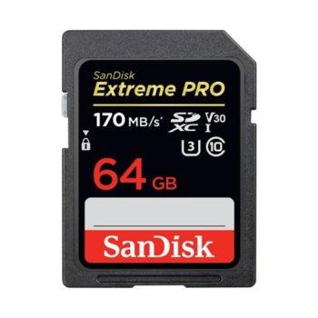 Карта памет 64GB SDXC SanDisk Extreme Pro, Class 10 UHS-I, скорост на четене до 170 MB/s, скорост на запис до 90 MB/s image