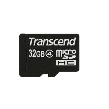 Карта памет 32GB microSDHC, Transcend, Class 4, скорост на четене 4MB/s, скорост на запис 4MB/s image