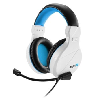 Слушалки Sharkoon Rush ER3, микрофон, позлатени конектори, бели image