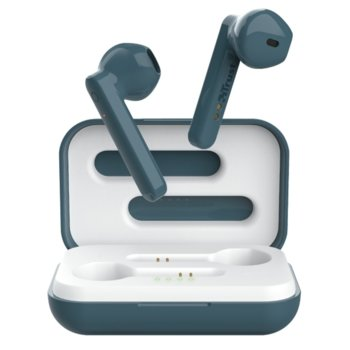 Слушалки Trust Primo Touch Bluetooth, микрофон, Bluetooth, до 4ч. издръжливост на батерията, с кутия за зареждане, сини image