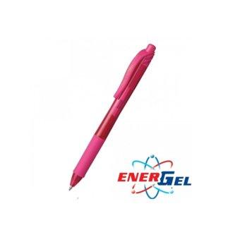 Автоматичен ролер Pentel Energel BL107, розов цвят на писане, дебелина на линията 0.7 mm, гел, розов, цената е за 1бр. (продава се в опаковка от 12бр.) image