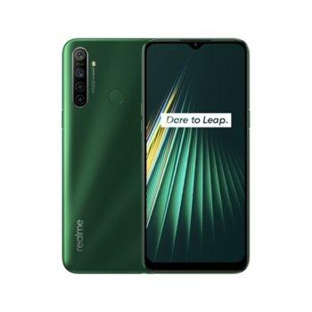 """Смартфон Realme 5i (зелен), поддържа 2 sim карти, 6.52"""" (16.56 cm) IPS LCD дисплей, осемядрен Snapdragon 665 2.0 GHz, 4GB RAM, 64GB Flash памет (+ microSD слот), 12.0 + 8.0 + 2.0 + 2.0 & 8.0 Mpix камера, Android, 195 g. image"""