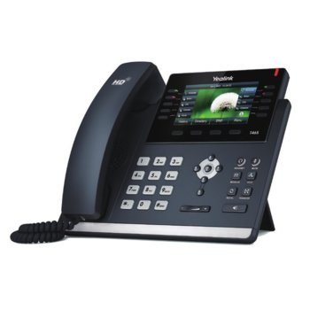 "VoIP телефон Yealink SIP-T46S-Skype for Business Edition, 4.3"" (10.922 cm) цвеен дисплей, 16 SIP accounts, 2x LAN10/100/1000, PoE, черен image"