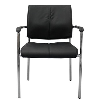 Посетителски стол RFG Flash M, до 120кг, еко кожа, метална база, черен, 4 броя в комплект image
