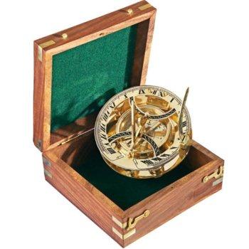 Компас K&R Panama Sun-Dial в дървена подаръчна кутия, ръчна изработка image