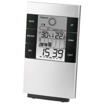 Електронна термо-хигрометър Hama TH-200, барометър, аларма, хигрометър, черен/сив image