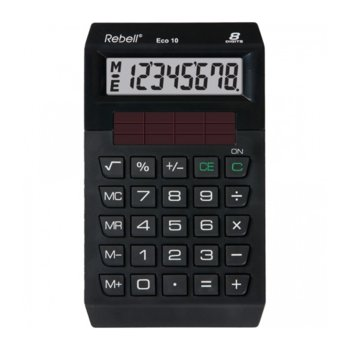 Калкулатор Rebell ECO10 eco line, 8 заряден дисплей, черен image