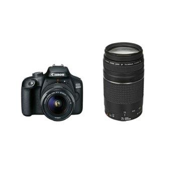 """Фотоапарат Canon EOS 4000D в комплект с 2x обектива (EF-s 18-55 mm DC III и EF 75-300 mm f/4.0-5.6 III), 18.7 MPix, 2.7"""" (6.8 cm) LCD дисплей, Wi-Fi, SDXC слот, HDMI Mini(Type-C) image"""
