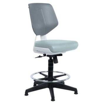 Работен стол Carmen LAB LUX, силиконова кожа, до 100 кг., сив image