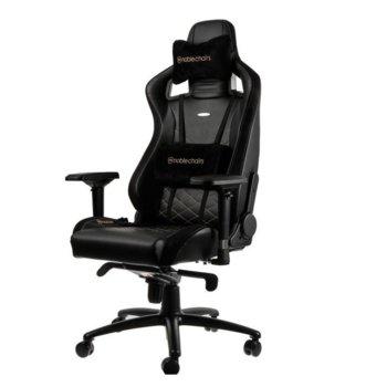 Геймърски стол noblechairs EPIC, естествена кожа, черен/златен image