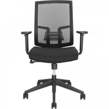 Работен стол Sydney Eco P003B, Пластмасова петлъчева основа, дамаска, Газов амортисьор, черен image
