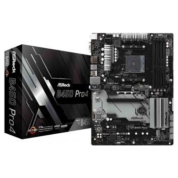 Дънна платка ASRock B450 Pro4, B450, AM4, DDR4, PCI-E (DP&HDMI&VGA), 4x SATA 6.0 Gb/s, 1x Ultra M.2 Socket, USB-C 3.1 (Gen2), ATX image