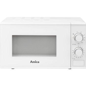 Микровълнова фурна Amica AMGF20M1GW, с грил, механично управление, 800W, 20L обем, 5 степени на мощност, бяла image