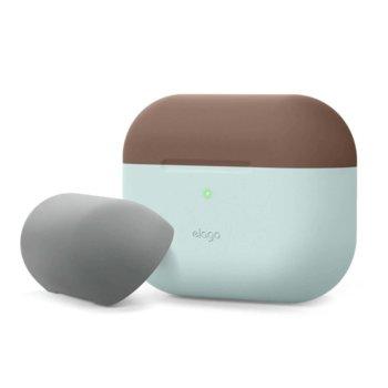 Калъф за слушалки Elago Duo Silicone EAPPDO-MT-DBRMGY, за Apple AirPods Pro, силиконов, светлосин-кафяв image