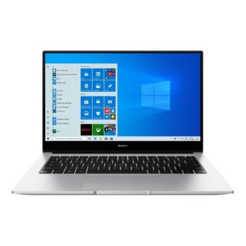 "Лаптоп Huawei MateBook D 14 (NobelK-WAQ9BR)(сребрист), четириядрен Zen 2 AMD Ryzen 5 3500U 2.1/3.7 GHz, 14"" (35.56 cm) Full HD IPS Anti-Glare Display, (HDMI), 8GB DDR4, 512GB SSD, USB Type C, Windows 10 Home, 1.38g image"