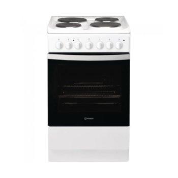Готварска печка Indesit IS5E4KHW/EU, ток, енергиен клас A, 4 брой нагревателни зони, 61 л. обем на фурната, механично управление, бял image