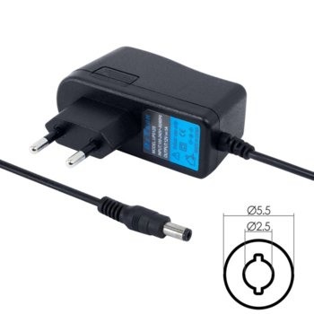 Зарядно устройство DeTech, от контакт към 5.5 x 2.5 mm, 9V/1A, 1.9m image