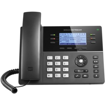 "VoIP телефон Grandstream GXP1760, 3.3"" (8.38 cm) монохромен LCD дисплей, 6 линии, 2x LAN10/100, PoE, черен image"