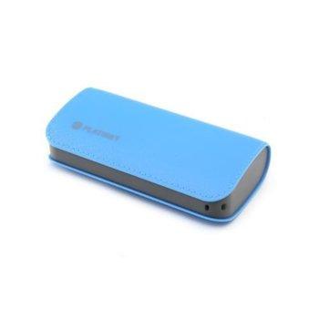 Външна батерия/power bank/ Platinet Leather, 5200 mAh, 2x USB-A, синя image