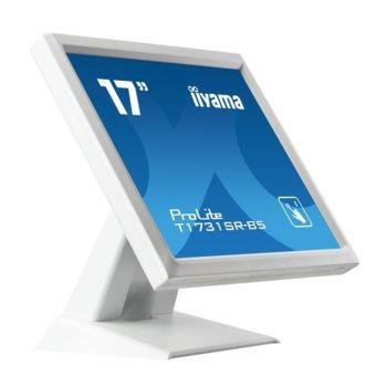"""Монитор Iiyama PROLITE T1731SR-W5, 17"""" (43.18 cm) TN сензорен панел, SXGA, 5ms, 1000:1, 250 cd/m2, Display Port, HDMI, VGA, IP54 защита image"""