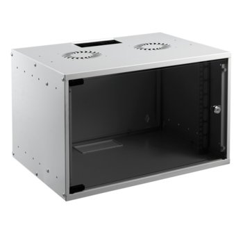 """Комуникационен шкаф Mirsan MR-07-SOH4, 19"""", 7U, 350 x 400 x 535 мм, предна стъклена врата, сив image"""