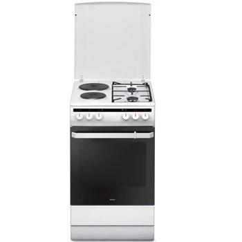 Готварска печка Amica 58ME2.35ZPP(W), комбинирана, 4 нагревателни зони (2 електрически котлона и 2 газови котлона), 62 л. обем, 8 функции на фурната, керамична, бяла image