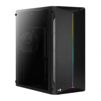 Кутия Aerocool Split RGB (SPLIT-A-BK-V1), ATX, 1 x USB 3.0, прозорец, черна, без захранване image