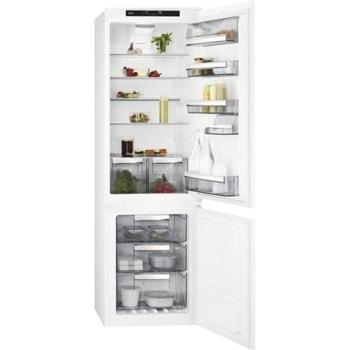 Хладилник с фризер AEG SCE818E6TS, клас E, 253 л. общ капацитет, за вграждане, 228 kWh/годишно, Frostmatic, Coolmatic, Fast freeze, сензорно управление, бял image