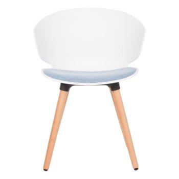 Трапезен стол Carmen 9969, пластмаса, дамаска, бук, бял image