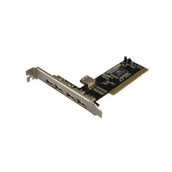 Контролер LogiLink PC0028, от PCI(Rev 2.2) към 4x USB 2.0(ж), до 480 Mbit/s трансфер image
