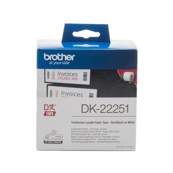 Лента за етикетен принтер Brother DK-22251, черен и червен цвят на бял фон, 62mm x 15.24m image