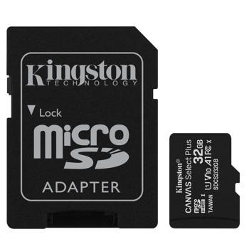 Карта памет 32GB MicroSDHC с адаптер, Kingston, Class 10 UHS-I, скорост на четене 100MB/s, скорост на запис 85 MB/s image