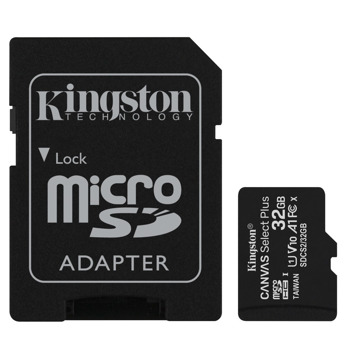 Карта памет 32GB MicroSDHC с адаптер, Kingston, Class 10 UHS-I, скорост на четене 100MB/s, скорост на запис 10 MB/s image