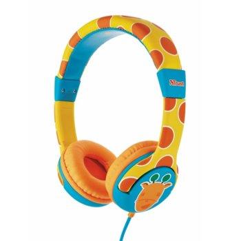 Слушалки Trust Spila Kids giraffe, жълт/щампа на жираф image