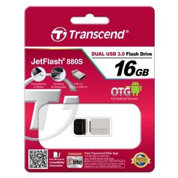 Памет 16GB USB Flash Drive, Transcend JetFlash 880, USB 3.0/micro USB, сребриста image