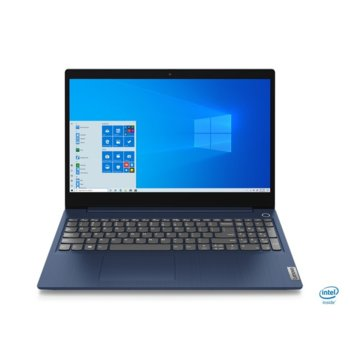 "Лаптоп Lenovo IdeaPad 3 15IIL05 (81WE0058BM)(син), четириядрен Ice Lake Intel Core i5-1035G4 1.1/3.7 GHz, 15.6"" (39.62 cm) Full HD Anti-Glare Display, (HDMI), 8GB DDR4, 256GB SSD, 2x USB 3.1, No OS  image"