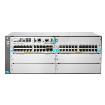 Суич Aruba 5406R 44GT PoE+/4SFP+ v3 zl2, 40 Gbps, (4) open 10GbE SFP+ transceiver slots, Supports a maximum of 144 autosensing 10/100/1000 ports or 144 SFP ports or 48 SFP+ ports or 48 HPE Smart Rate Multi-Gigabit or 12 40GbE ports, or a combination image