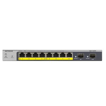 Суич Netgear GS110TP-300EUS, 1000Mbps, 8x 10/100/1000Mbps, 8x PoE, 2 SFP порта, auto VoIP and Video, ACL (Up to 53W) image