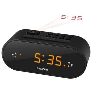 Радиочасовник Sencor SRC 3100 B, цифров, FM тунер, 0.9'' LED дисплей, 10 предварителни настройки, червена проекция на часовника, черен image