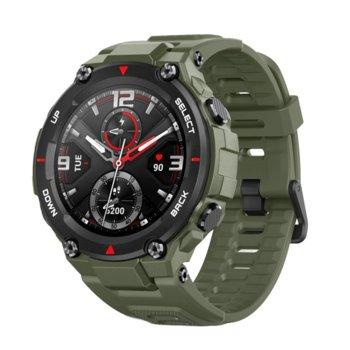 """Смарт часовник Xiaomi Amazfit T-Rex Army Green, 1.3"""" (3.30 cm) AMOLED дисплей, до 20 дни живот на батерията, 14 режима на упражнения, Bluetooth, черен image"""