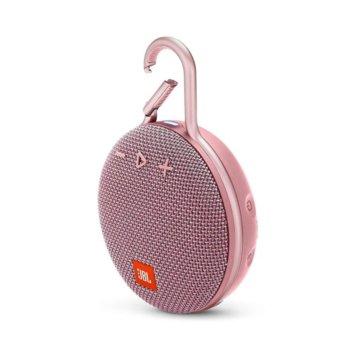 Тонколона JBL Clip 3, 1.0, 3W RMS, безжична, 3.5mm jack/Bluetooth, розова, микрофон, IPX7, до 10 часа работа image