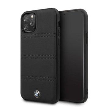 Калъф за Apple iPhone 11, естествена кожа, BMW Signature Horizontal Lines BMHCN61PELBK, черен image