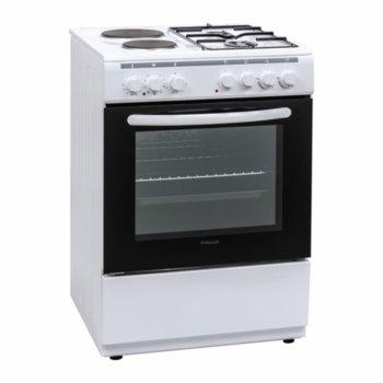 Готварска печка Crown Finlux FXC 522M, 4 броя нагревателни зони, 50 л. обем на фурната, 9 функции, бяла image