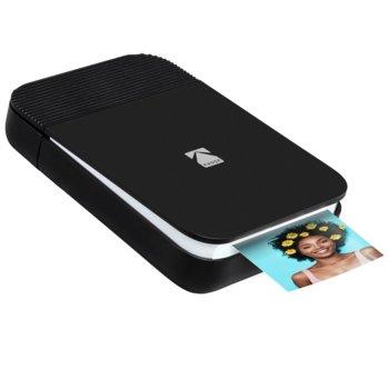Мобилен принтер Kodak Smile Printer Black/White RODSMMPBW, цветен термичен фотопринтер, A2 формат, Bluetooth, micro USB, черен image
