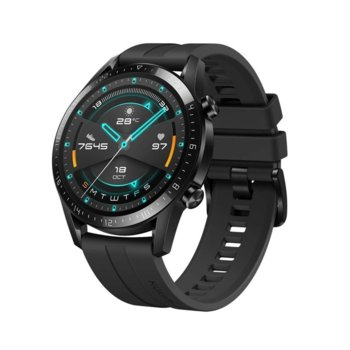 Смарт часовник Huawei Watch GT 2, Latona, 46mm, 454 x 454 pix AMOLED дисплей, 4GB памет, Bluetooth, Huawei wearable platform, водоустойчив, черен с черна гумена каишка image