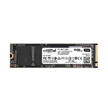 Памет SSD 500GB Crucial P1, PCIe NVMe, M.2 (2280), скорост на четене 1900MB/s, скорост на запис 950MB/s image